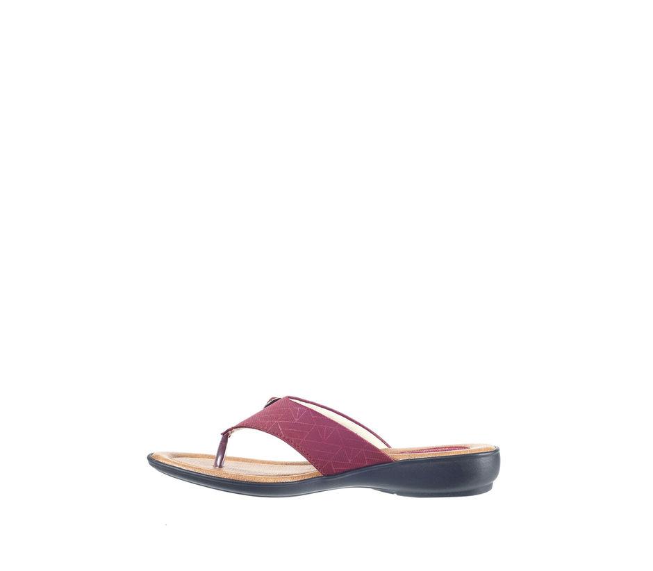 Khadim's Women Maroon Casual Slip-On Sandal