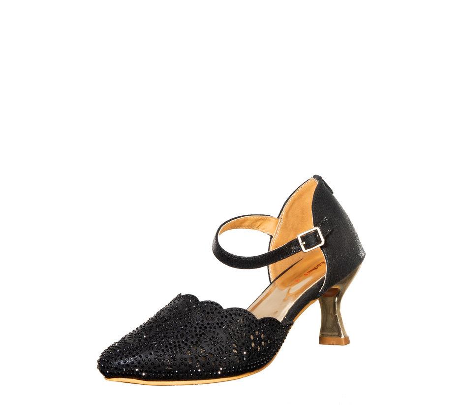 Khadim's Black Ethnic Heel Sandal
