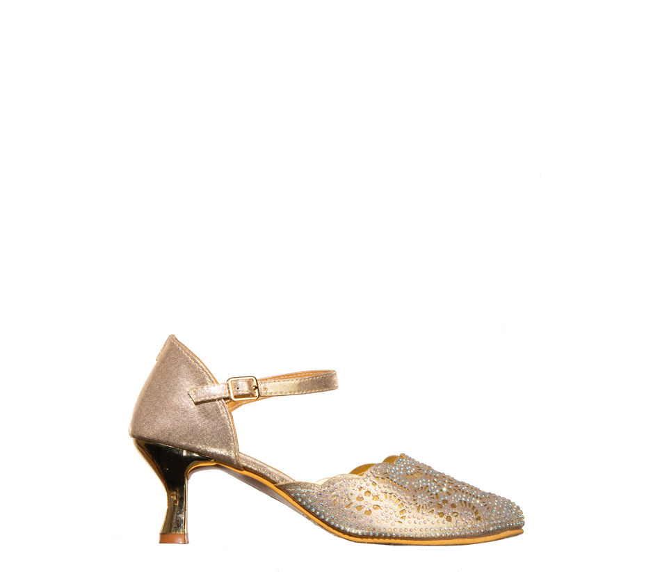 Khadim's Rose Gold Ethnic Heel Sandal