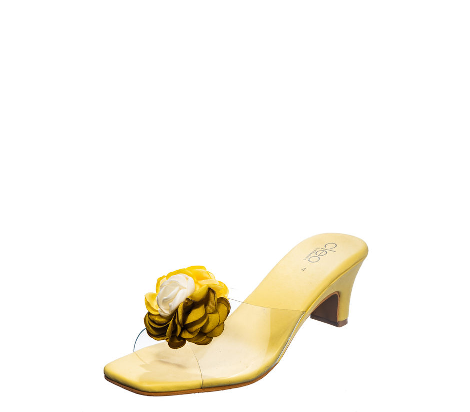 Cleo Yellow Casual Heel Sandal