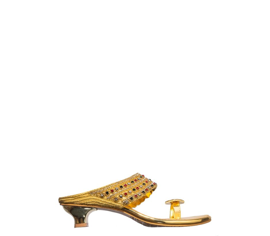 Khadim's Gold Ethnic Slip-On Sandal
