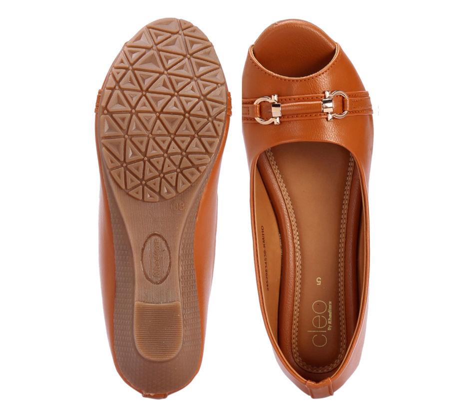 Cleo Tan Casual Ballerina Shoe