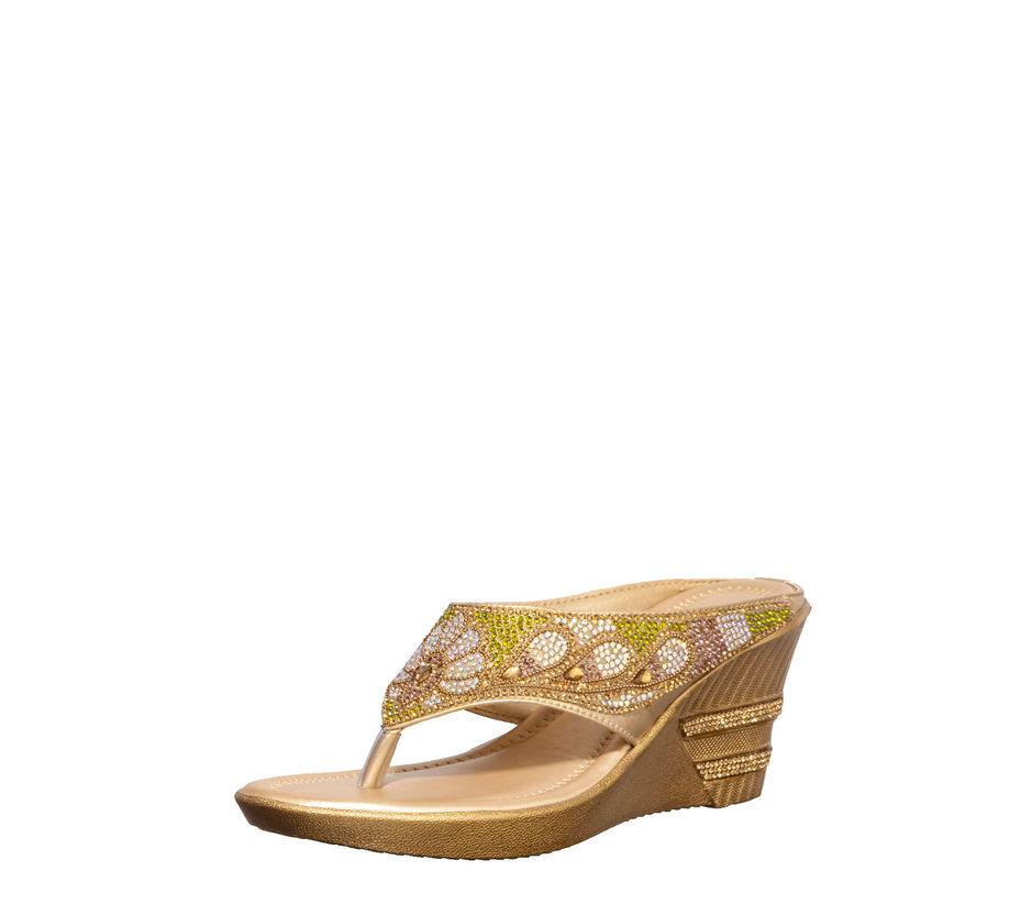 Khadim's Gold Ethnic Heel Sandal