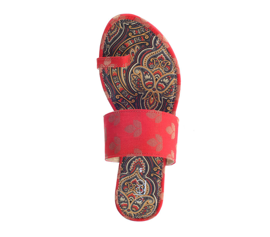 Cleo Red Ethnic Flat Sandal