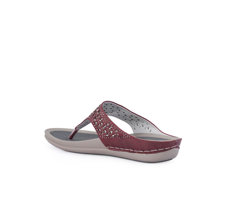 Sharon Maroon Casual Slip-On Sandal