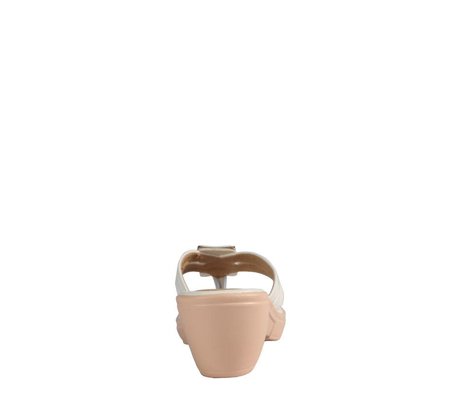 Cleo White Casual Heel Sandal