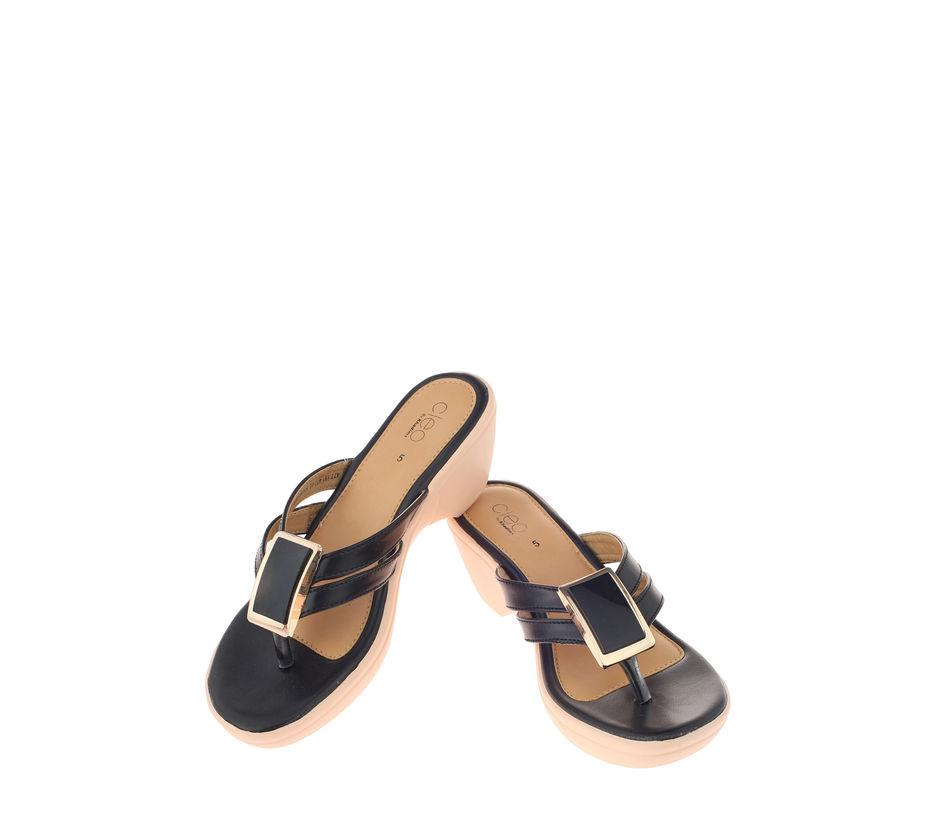 Cleo Black Casual Heel Sandal