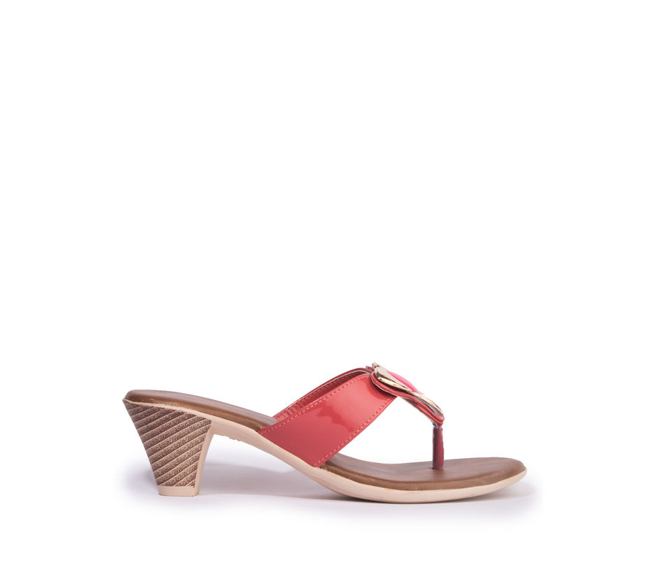 Khadim's Cleo Women Red Casual Heel Sandal