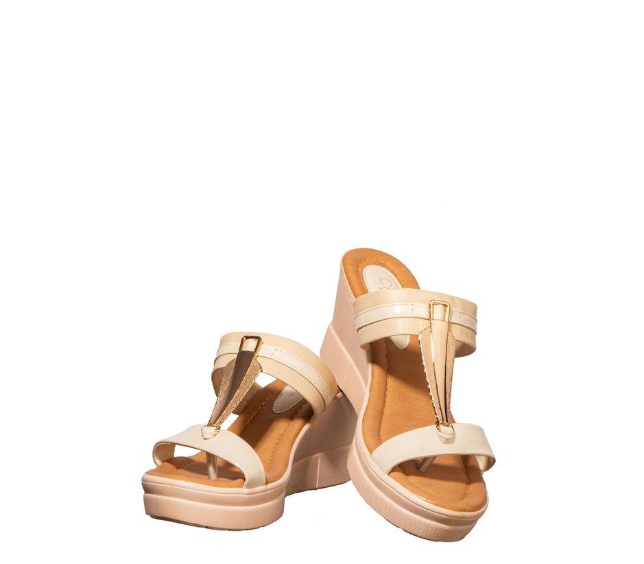 Cleo Beige Casual Heel Sandal
