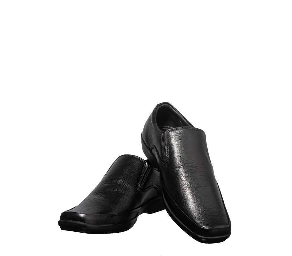 British Walkers Men Black Formal Slip-On Shoe