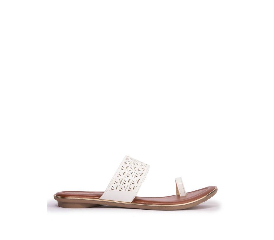 Khadim's Women White Casual Flat Sandal