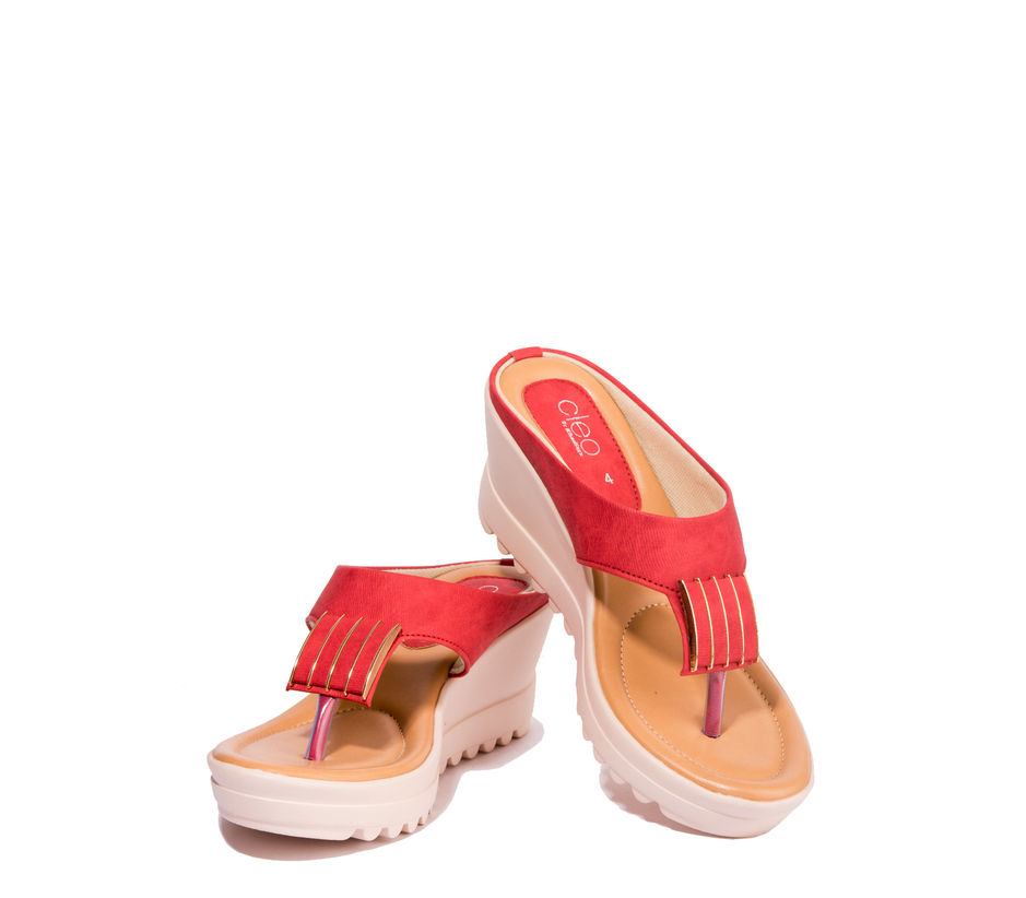 Cleo Red Casual Heel Sandal