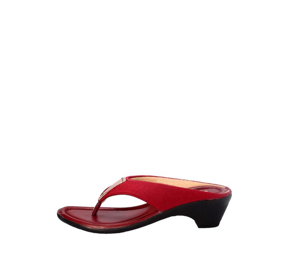 Khadim's Maroon Casual Heel Sandal