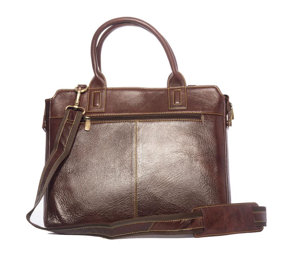 Khadim's Brown Laptop Crossbody Bag