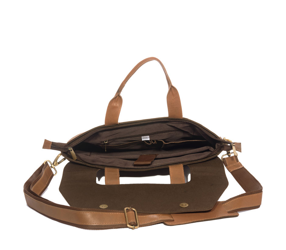 Khadim's Brown Laptop Crossbody Bag