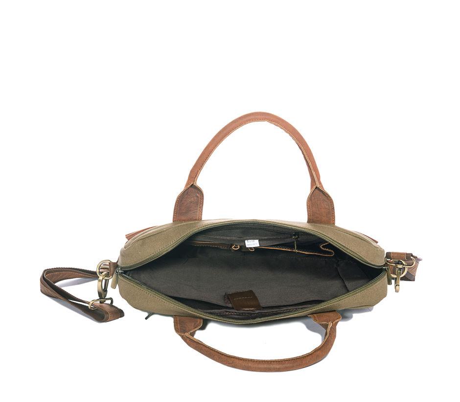 Khadim's Olive Laptop Crossbody Bag