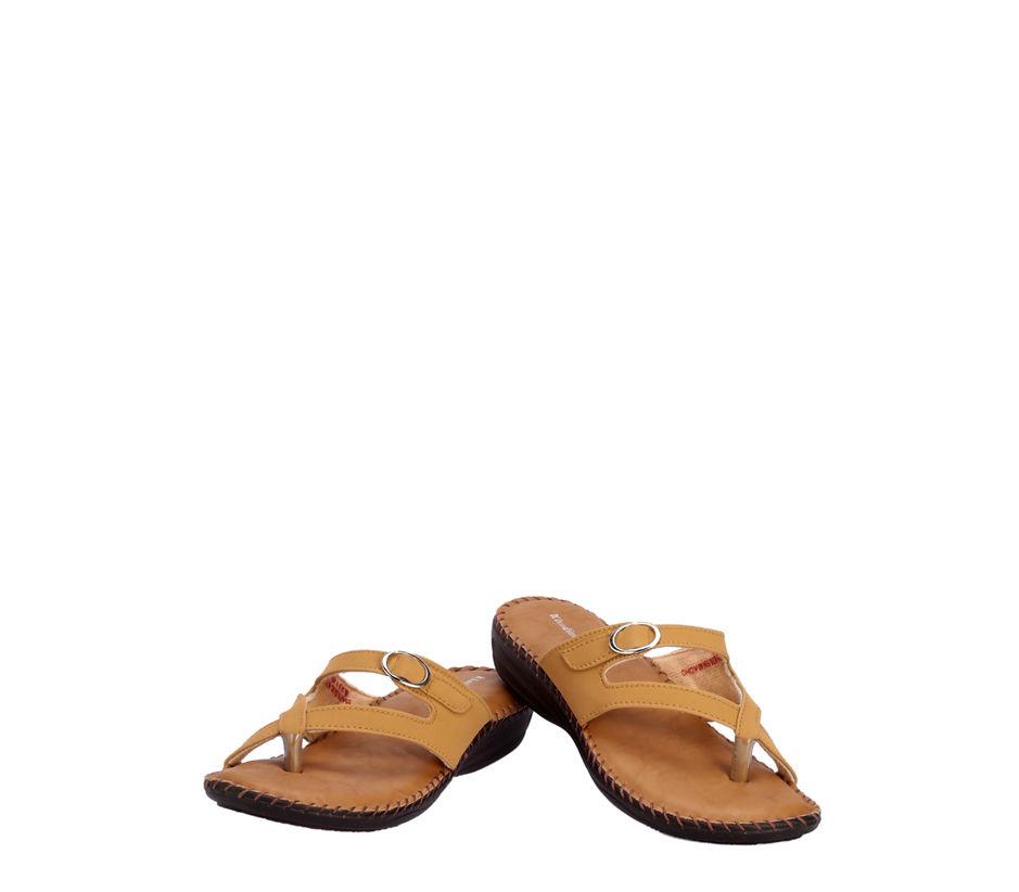 Khadim's Tan Casual Slip-On Sandal