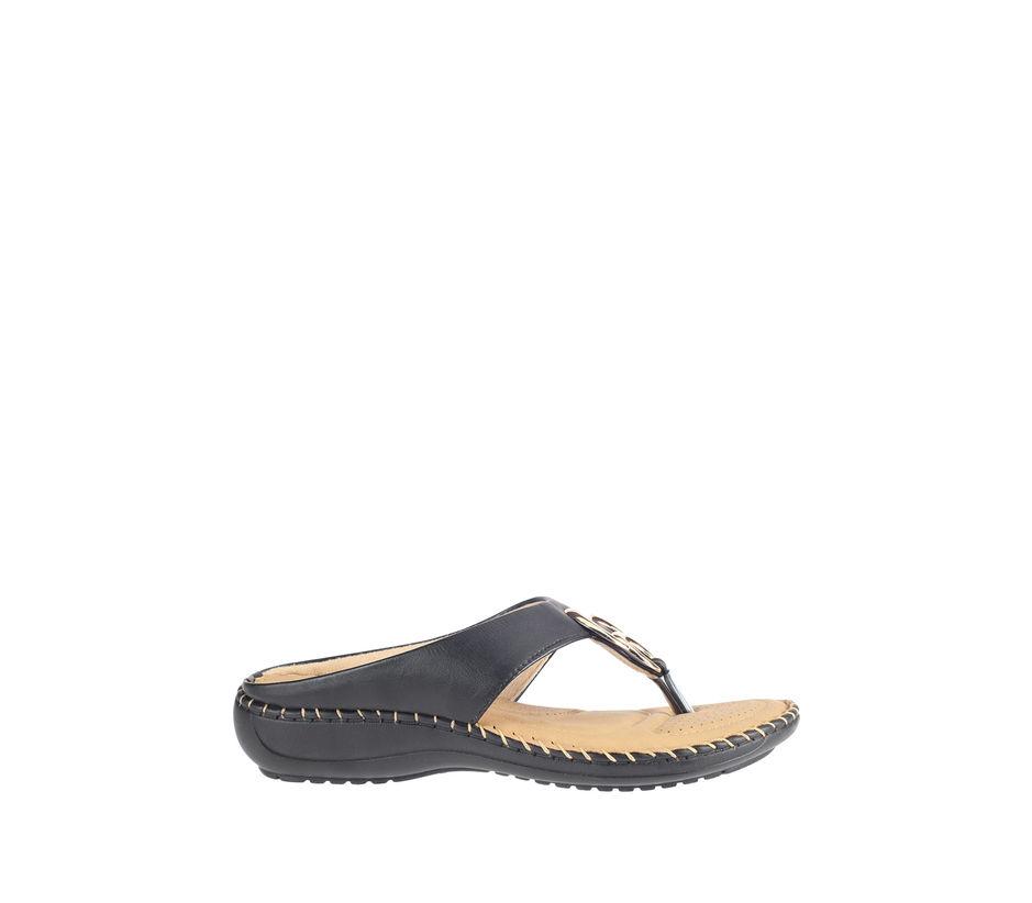 Khadim's Black Casual Flat Sandal