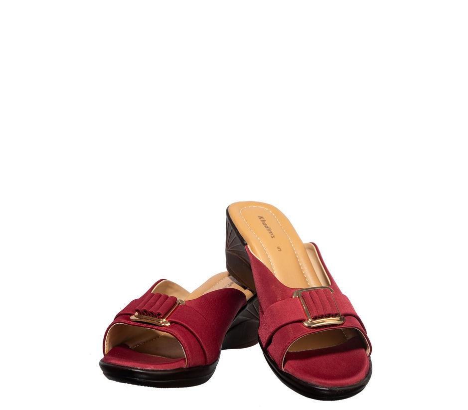 Khadim's Maroon Casual Mule Sandal