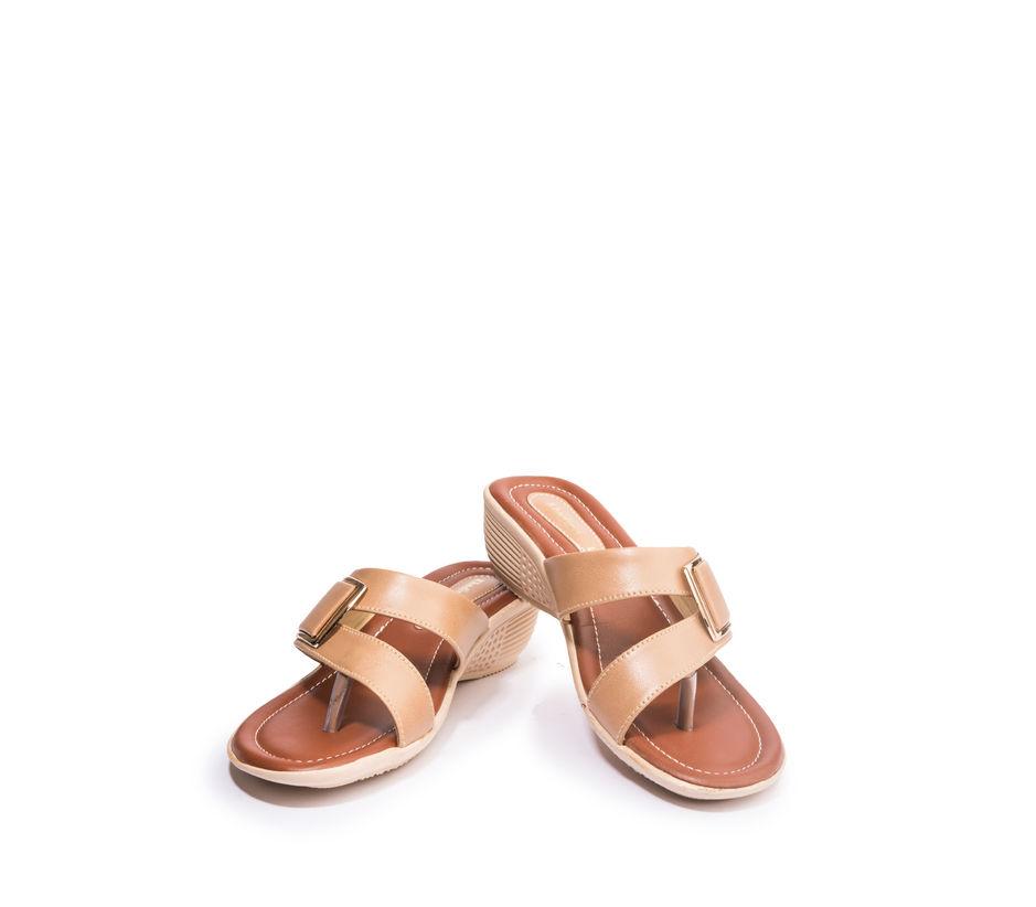 Khadim's Women Beige Casual Heel Sandal