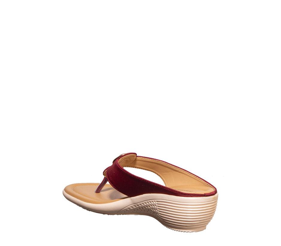 Khadim's Maroon Casual Slip-On Sandal