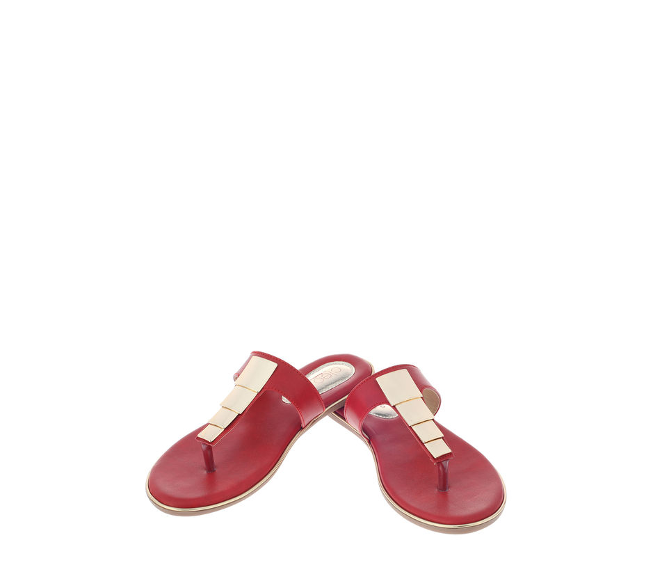 Cleo Red Casual Flat Sandal