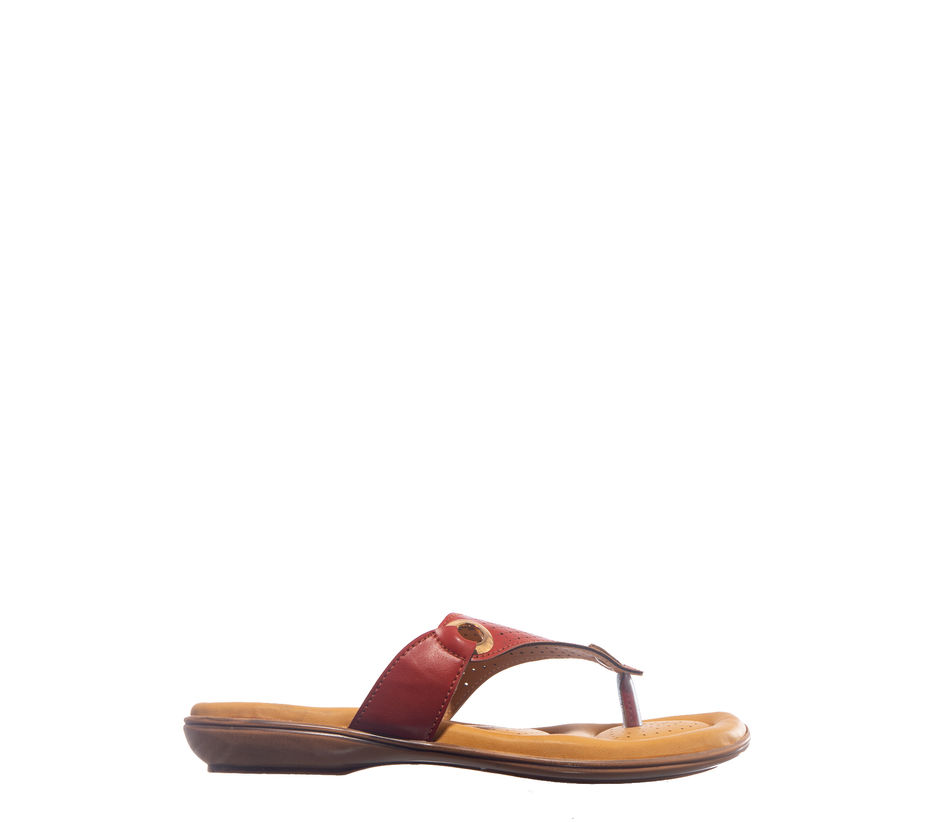 Softouch Red Casual Flat Sandal