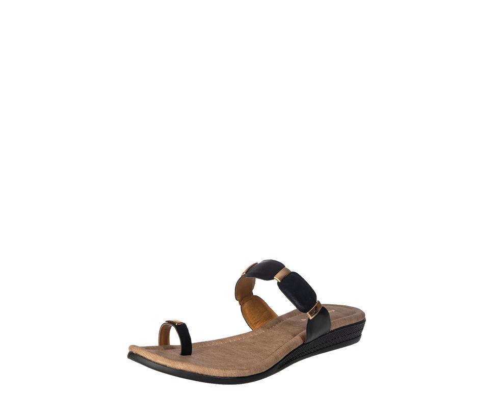 Khadim's Women Black Casual Slip-On Sandal