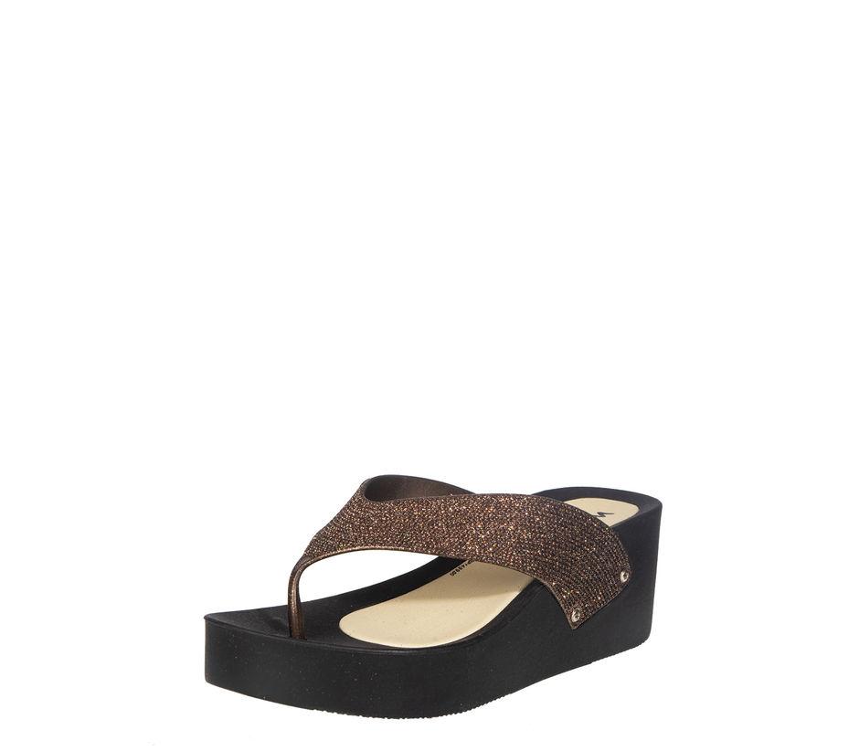 Waves Women Brown Casual Slip-On Sandal
