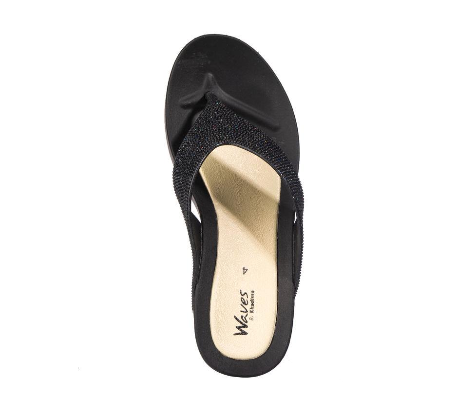 Waves Women Black Casual Slip-On Sandal