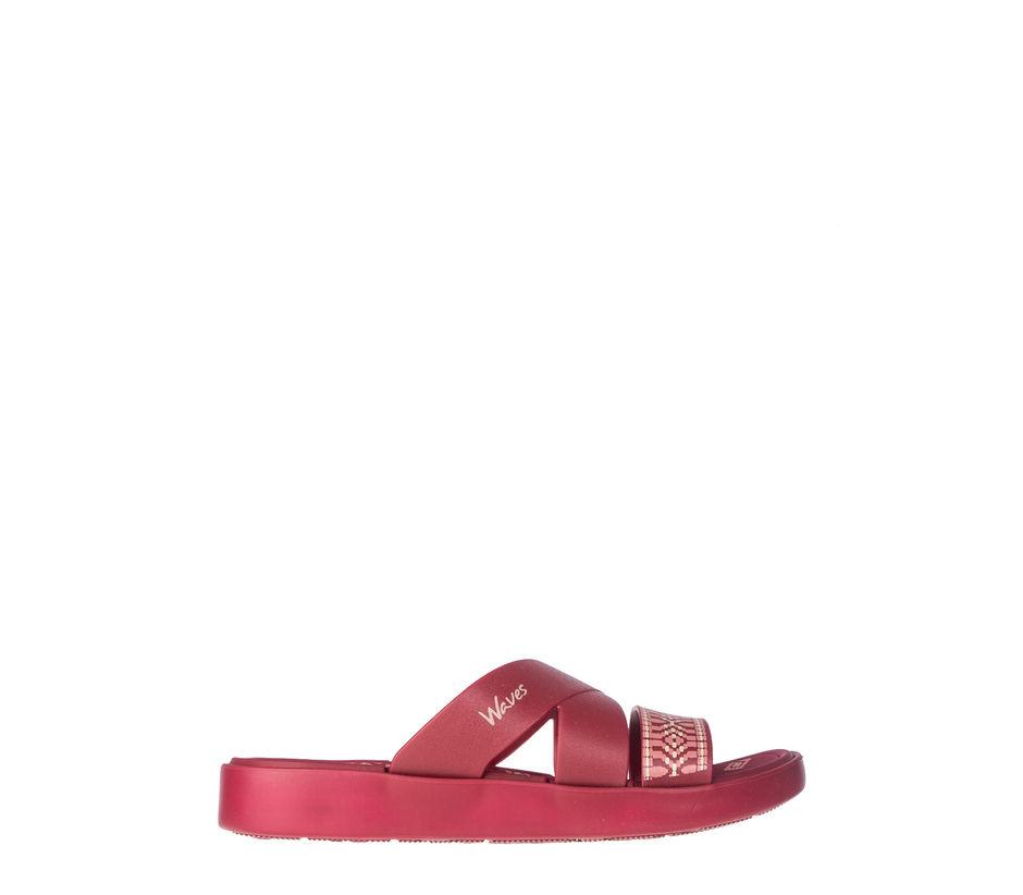 Waves Women Maroon Casual Slip-On Sandal