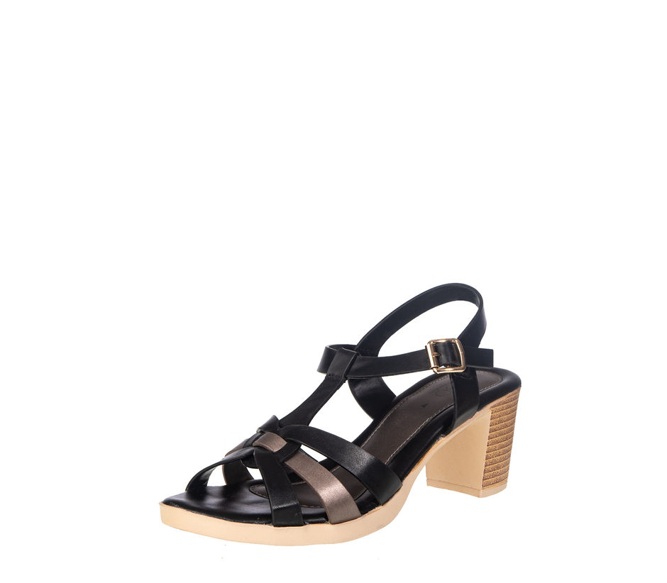Cleo Women Black Casual Heel Sandal