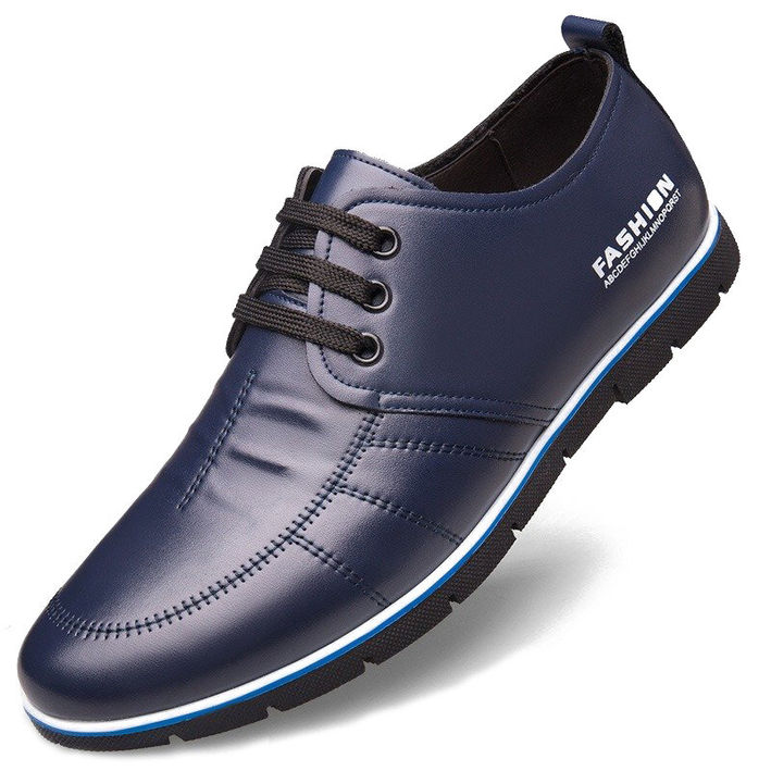Men Hand Stitching Leather Casual Shoes Oxfords Soft Non-Slip Lace-up Ankle Boot