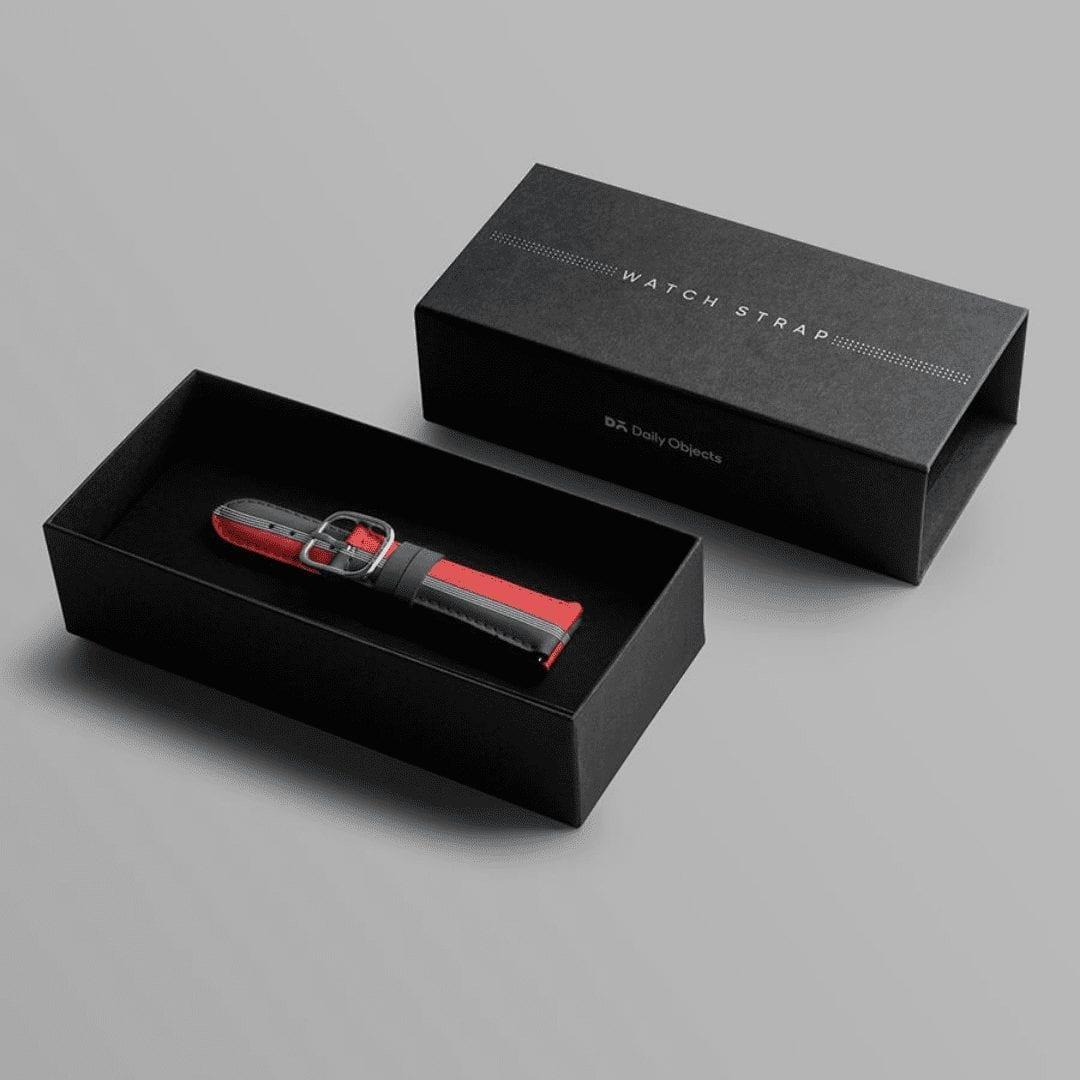 Red Blue Pinstripes Leather Universal WatchBand Kliipik Kuwait