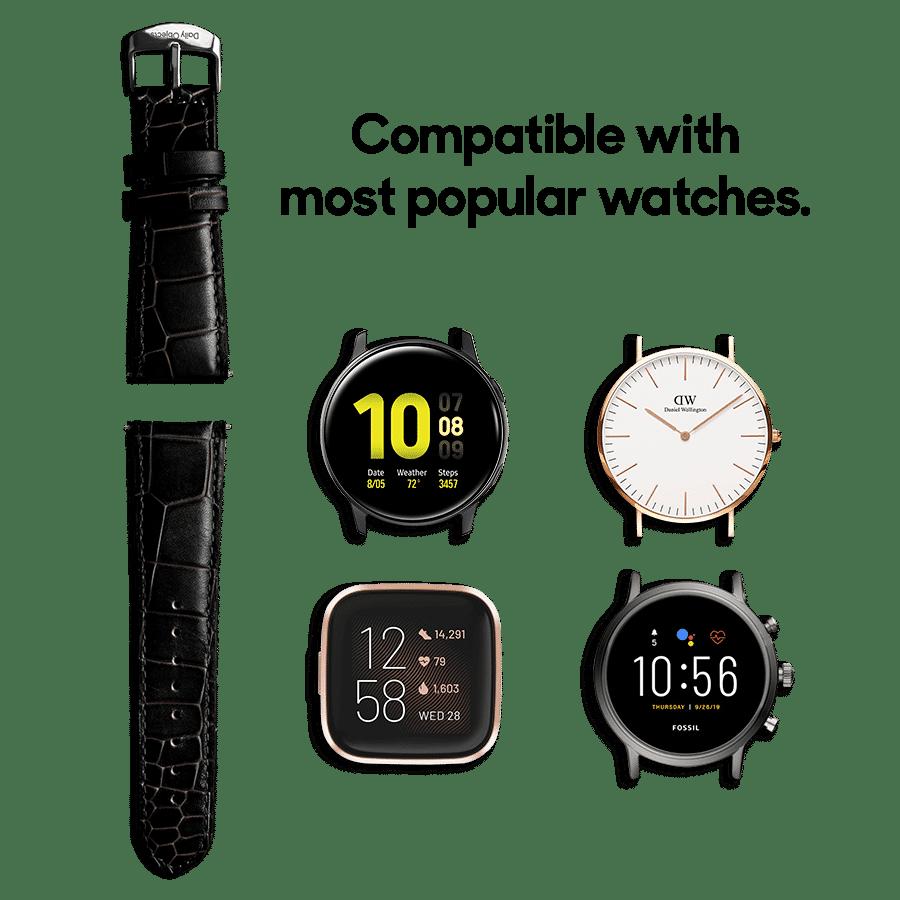 Black Croco Leather Universal WatchBand Klippik Kuwait