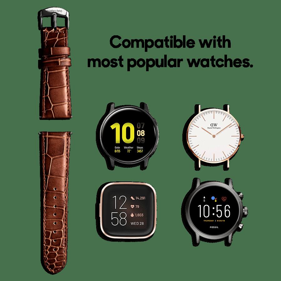 Brown Croco Leather Universal WatchBand Klippik Kuwait