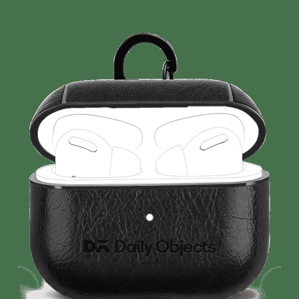 Black Leather AirPods Pro Case Cover | Klippik Kuwait