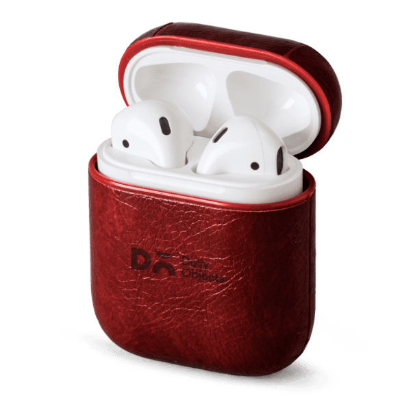 Red Leather Airpods Case Cover |Klippik Kuwait | Online