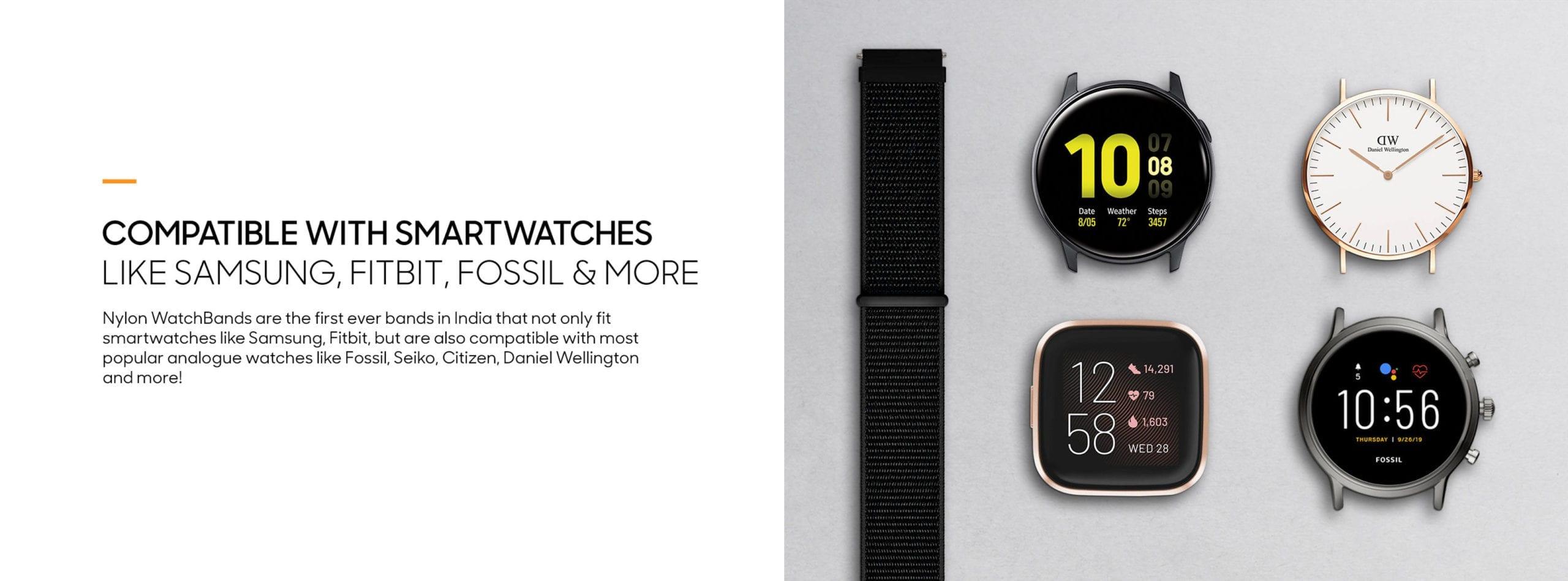 Army Green Nylon Universal WatchBand for Samsung, Huawei Smart Watches | Klippik | Online SHopping