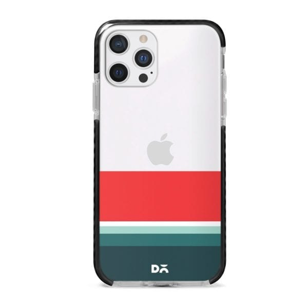 Green and Red Clear Stride Case Cover for Apple iPhone 12 Pro and Apple iPhone 12 Pro Max with great design and shock proof | Klippik | Online Shopping | Kuwait UAE Saudi