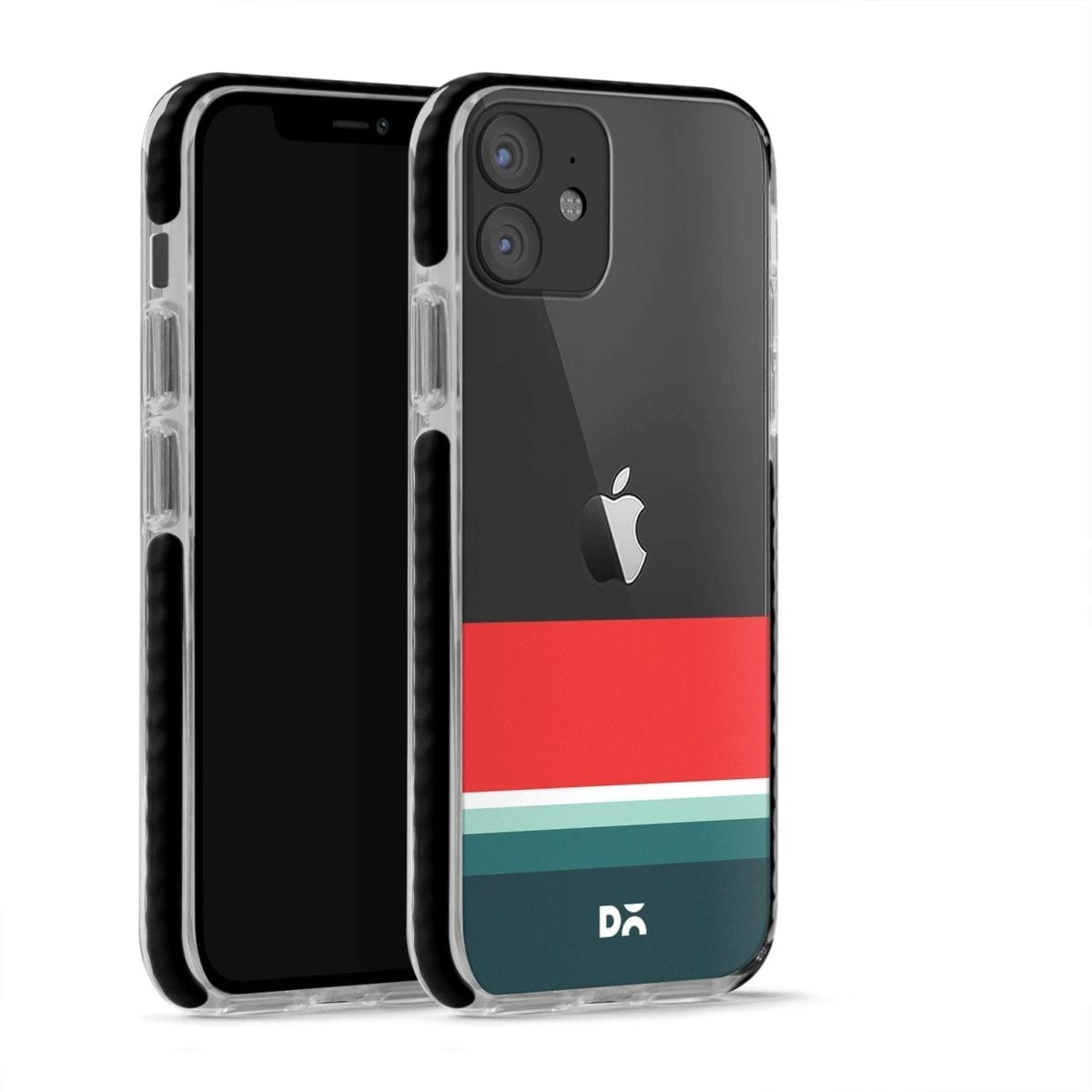 Green and Red Clear Stride Case Cover for Apple iPhone 12 Mini and Apple iPhone 12 with great design and shock proof | Klippik | Online Shopping | Kuwait UAE Saudi