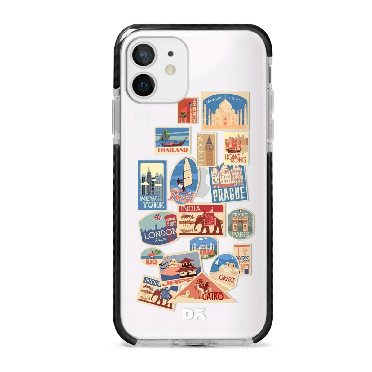 Travel Bucket Clear Stride Case Cover for Apple iPhone 12 Mini and Apple iPhone 12 with great design and shock proof | Klippik | Online Shopping | Kuwait UAE Saudi