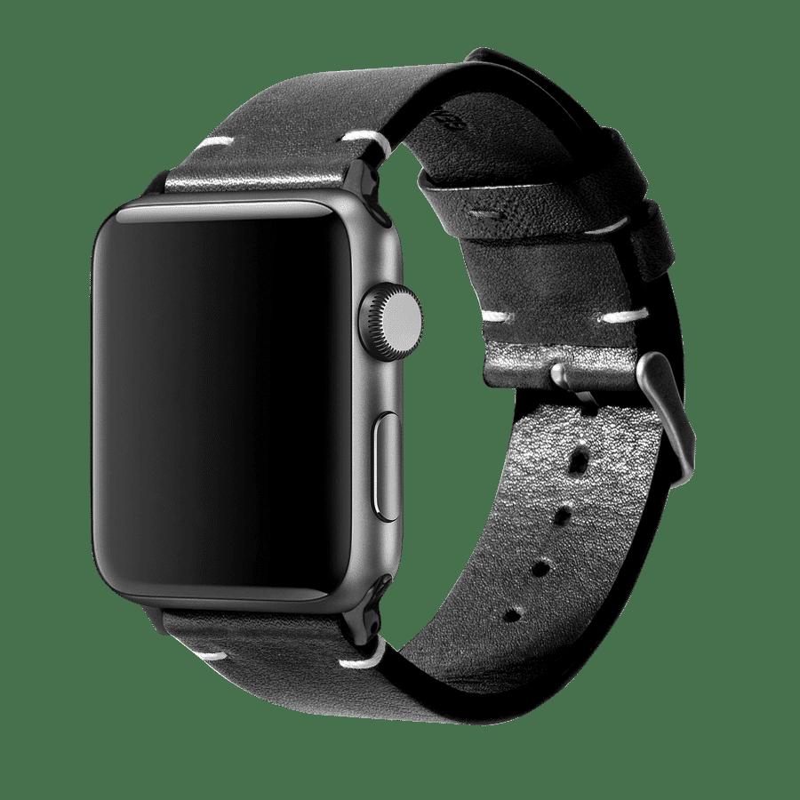 Black Two-stitch Handmade Leather Apple WatchBand – Black 38/40mm | KlippiK Kuwait