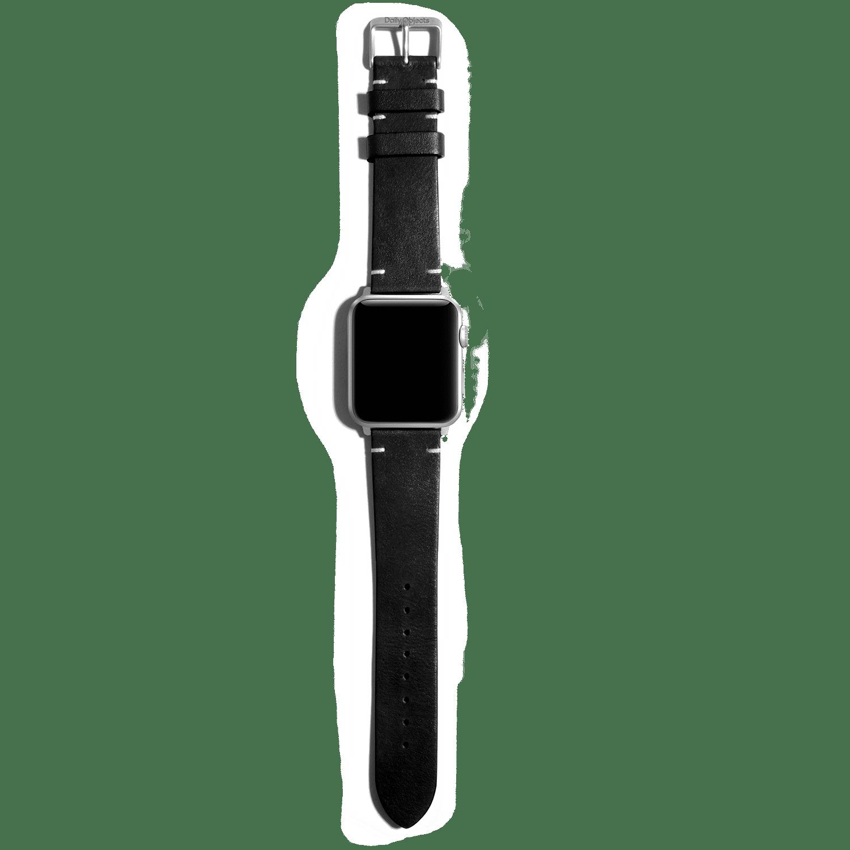 Black Two-stitch Handmade Leather Apple WatchBand – Silver 38/40mm | KlippiK Kuwait