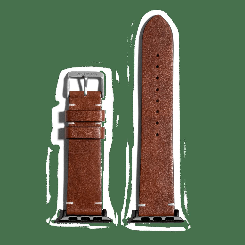 Brown Two-stitch Handmade Leather Apple WatchBand – Black 38/40mm | KlippiK Kuwait