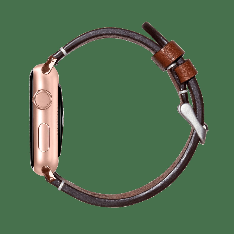 Brown Two-stitch Handmade Leather Apple WatchBand – Gold 38/40mm | KlippiK Kuwait