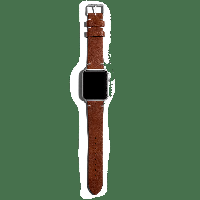 Brown Two-stitch Handmade Leather Apple WatchBand – Silver 38/40mm | KlippiK Kuwait