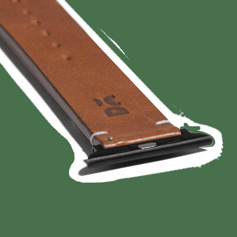 Tan Two-stitch Handmade Leather Apple WatchBand – Black 38/40mm | KlippiK Kuwait