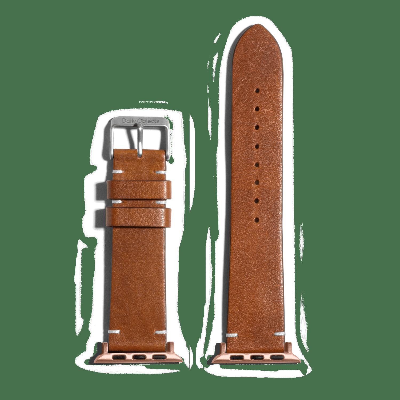 Tan Two-stitch Handmade Leather Apple WatchBand – Gold 38/40mm | KlippiK Kuwait