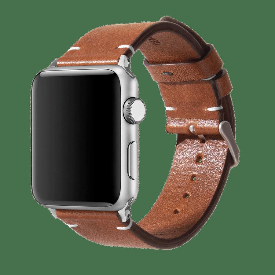 Tan Two-stitch Handmade Leather Apple WatchBand – Silver 38/40mm | KlippiK Kuwait